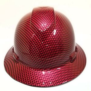 Hard Hat FULL BRIM custom hydro dipped , OSHA approved CANDY APPLE RED SICK NEW