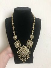 Rhinestone Harem Princess Dangle Necklace Vintage Yellow Matte Gold Crystal Gray