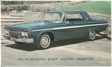 1964 Plymouth Fury 4-Door Hardtop Automobile Advertising Postcard