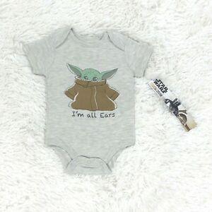 New Star Wars Baby Bodysuit 0-3M Baby Yoda Gray Short Sleeve Toddler Infant Boy