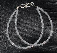 White Zircon Gemstone 925 Sterling Silver 5-10 Inch 2 Layer Fine Bracelet YHG221