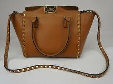 Valentino Garavani Rockstud Brown Light Tan Leather Double Handle Tote Bag