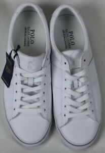 POLO Ralph Lauren White Sayer SK VLC Leather Sneakers Rubber Sole NWT