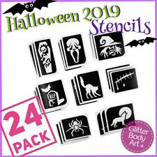 Halloween Glitter 2019 Tattoo Stencils - 24 Pack