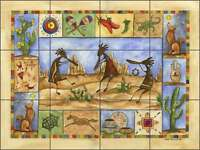 Ceramic Tile Mural Kitchen Backsplash Mullen Southwest Kokopelli Art SM041