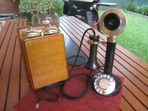 Australian PMG Candlestick Telephone with Oak Wooden Bellset c.1920's