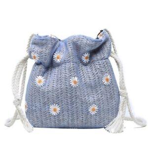 Small Bucket Straw Bag Crossbody Women Fashion Floral Knitting Summer Beach Bags
