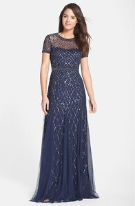 NWT Adrianna Papell Beaded Mesh Gown Navy Blue [ 6 10 12 14 ] #17