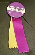 Vintage 1960s Northwestern Wildcats pinback button with ribbons & football charm