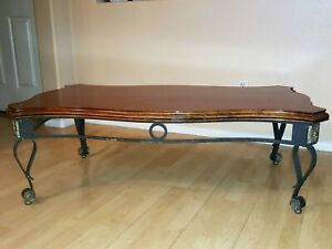 Coffee Table - Cherrywood Top - Cast Iron Base