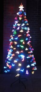 Christmas Tree w/ Bright Colorful Blinking Fiber Optic Lights - 6' H - New