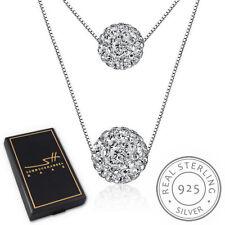 Doppel Kugel Halskette 925 Sterling Silber Damen +Etui, Schmuckhandel Haak®