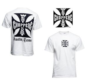 "West Coast Choppers T Shirt in Weiß Modell Black Cross "" Neu"" Austin Texas"