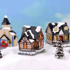 Christmas house Miniatures For Fairy Garden Gnomes Moss Terrariums Decor JB