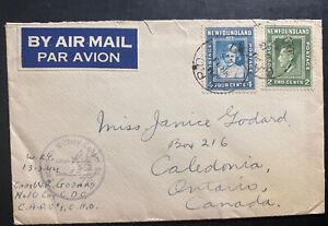 1944 Newfoundland CAPO 1 Airmail Censored Cover To Caledonia Canada