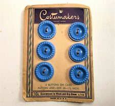 "Vintage Costumakers Buttons 6 Count Blue Plastic Heart  3/4"" Inch - NOS"