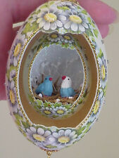Real Hand Decorated Double Goose Egg Collectible Ornament Daisy/Blue Birds Ooak