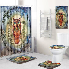 Owl Bathroom Rug Set Shower Curtain PVC Shower Mat Bath mat Toilet Lid Cover