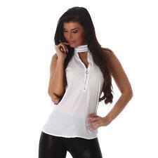 Sexy Top Shirt T-shirt avec superbe Choker + fermeture éclair Blanc M 36 38
