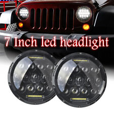 2PC 7 inch Round LED Headlight Hi/Lo Fit 1997-2017 Jeep Wrangler CJ TJ JK Harley