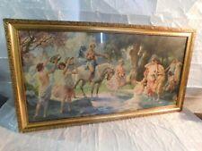 mid century Hollywood Regency  Venus nudes angels cupids art picture framed rare