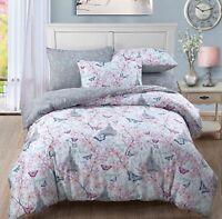 Paris Blossom Duvet Cover Set + Pillowcases Butterflies Reversible Bedding Set