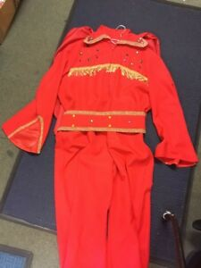 Mens 1970s Elvis Presley Red Stage Jumpsuit Costume XL 46/48Cosplay