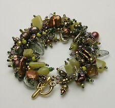 """Bracelet bead kit """"Jaded Pearls"""" Bronze, Freshwater Pearls & Jade, Beautiful!"""