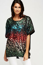 Multi Coloured Sequin Box Top. Stunning / Party. UK16. BNWOT. Red/Teal/Black
