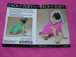 DOG/Pet GOLD PUFFY VEST hood REVERSIBLE  Zack & Zoey size Large NWT watermelon