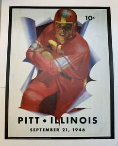 "Illinois Fighting Illini v Pitt Football 1946 Program Poster Print 14"" x 11"""