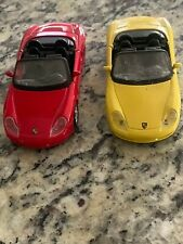 (2) Maisto Porsche Boxster 1:36 Scale Diecast Red & Yellow | Pull Back Cars