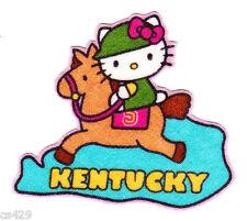 "2.5"" HELLO KITTY SANRIO STATE OF USA KENTUCKY FABRIC APPLIQUE IRON ON"