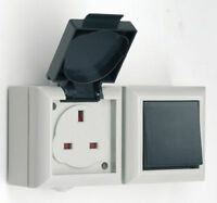 EXTERNAL SWITCH AND SOCKET 13 AMP IP54 OUTSIDE WALL MOUNTABLE WATERPROOF
