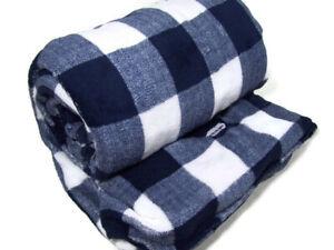 Biddeford Heated Electric Warming Micro Plush Navy Buffalo Plaid Throw Blanket