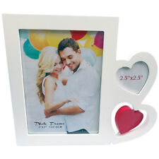 NEW WOODEN Picture Frame for 5x7 Photo, RED WHITE HEART WEDDING LOVE
