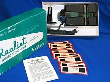 SERVICED 1950 3D Realist Green Button Stereo Viewer AC Electric 2062 +12 Slides