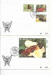 HONDURAS 1992 BUTTERFLIES INSECTS SET OF 3 +  SS ON 2 FDC SCOTT 370/73
