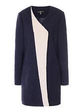 BNWT Ladies Navy Contrast Lepel Wool Coat LITTLE MISTRESS - sz 12