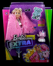 New ListingBarbie Extra Doll #3 in Pink Coat with Pet Unicorn-Pig - Long Blonde Posable