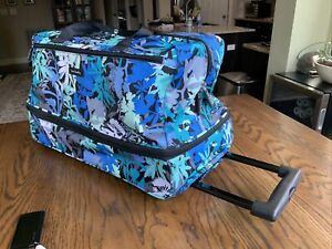 Vera Bradley Wheeled Carry-on Floral Blue-Green Travel Bag, Extra Large, EUC
