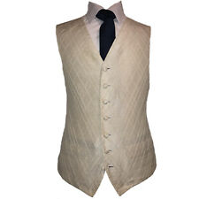 Ivory Self Diamond Pattern Waistcoat Vest Wedding Dress UK Sizes 100% SILK (A78)