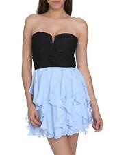 Arden B Black Ice Blue Chiffon Party Prom Homecoming Mini Bustier Dress XSmall
