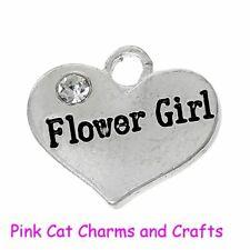 5 x Tibetan Silver & Rhinestone FLOWER GIRL HEART 3D 16mm Charms Pendants Beads