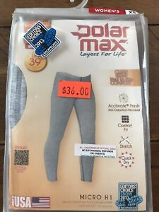 $36 NEW womens Polarmax Light weight 1.0 Gray Base Layer Bottoms Pants Ski Hike