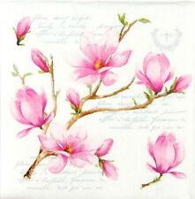 Magnolia Flor de papel Servilletas 4x Para Decoupage Decopatch Craft