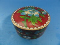ANTIQUE EARLY 20c. CHINESE EXPORT FLORAL  CLOISONNE ROUND BOX
