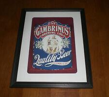 GAMBRINUS BREWING CO. FRAMED COLOR AD PRINT - COLUMBUS, OHIO