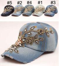 Hand-Studded Gold Silk Flower Decoration Denim Baseball Hat Sunshade Casual Cap