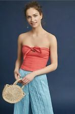 NEW $250 Mara Hoffman Nan Top Size 8 Organic Linen Tie Front Crop Bustier